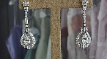 Art Deco Period Pear Drop Diamond Earrings