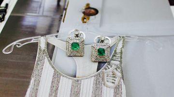 Art Deco Emerald Square Cluster Earrings