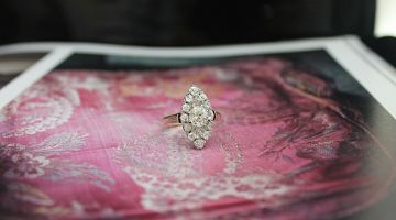Antique Rose Gold Diamond Marquise Ring