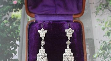 Platinum Antique Chandelier Drop Earrings
