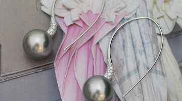 Tahitian Pearls on Diamond Long Drop Earrings