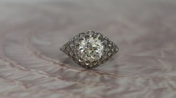 Art Deco Lace 'Bombe' Platinum Ring