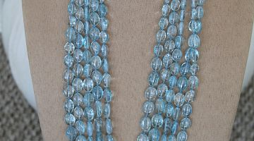 Cabochon Aquamarine Bead Necklace