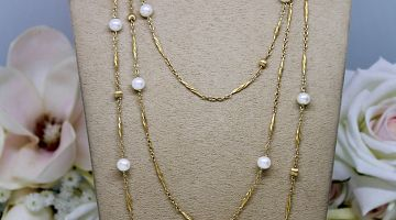 Antique French 18ct Chain with Akoya Pearls