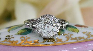 Art Deco Solitaire 2.67ct Old Euro Diamond Ring