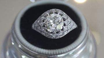 Art Deco 'Bombe' Lace Like Diamond Ring