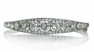 French Antique Platinum Diamond Bangle