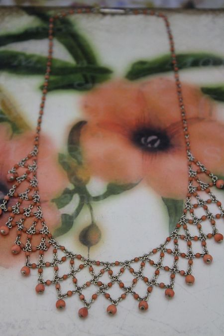 Antique Coral Lace Necklet