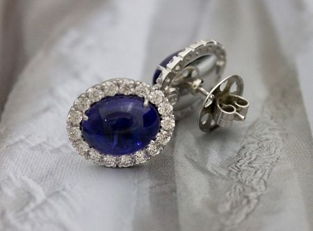 Cabochon Tanzanite Earrings