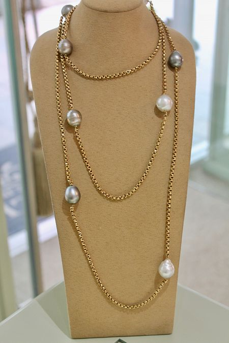 *SOLD* Antique Guard Chain with South Sea Pearls