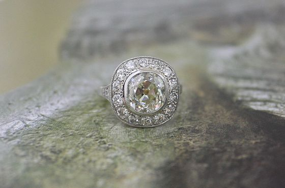 European Cushion Cluster Ring