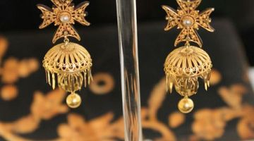 Maltese Cross Cannetille Drop Earrings