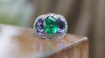 Emerald and Tanzanite Ring