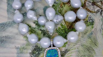 Boulder Opal Enhancer - South Sea Baroque Pearls