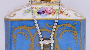 Deco Diamond & Pearl Drop Lariat