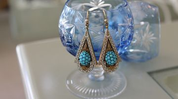 Antique Turquoise & Enamel Earrings