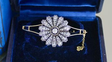 Antique Silver Set and Yellow Gold Diamond Bangle