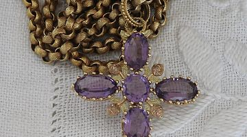 Georgian Amethyst Cross and Chain