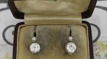 French Dormuese Diamond Antique Earrings