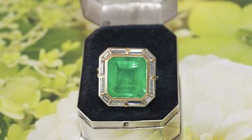 Colombian 9.96ct Emerald & Baguette Ring