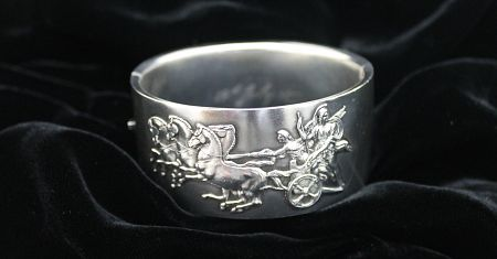 Victorian Sterling Silver 'Chariot' Cuff