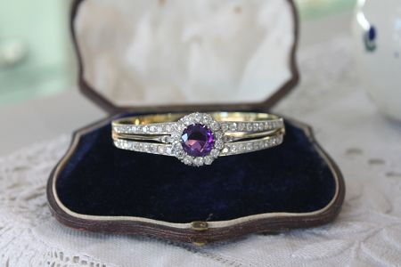 Antique Amethyst and Diamond Bangle