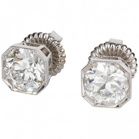 **DEPOSIT TAKEN**  Octagonal Set Round Old Euro Stud Earrings