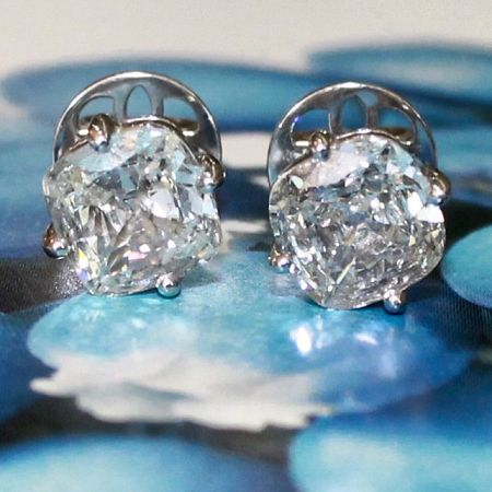 Cushion Brilliant Cut Diamond Studs