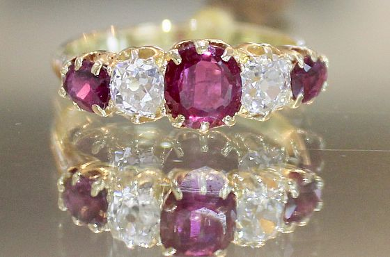 Original, c1890 London Bridge Ruby & Diamond Ring