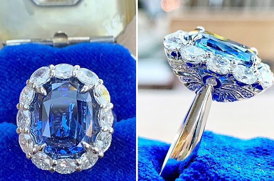 Natural 9.60ct Ceylon Sapphire & Diamond Ring