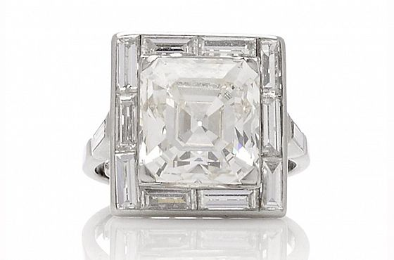 Antique Emerald Cut 5.35ct Diamond Ring